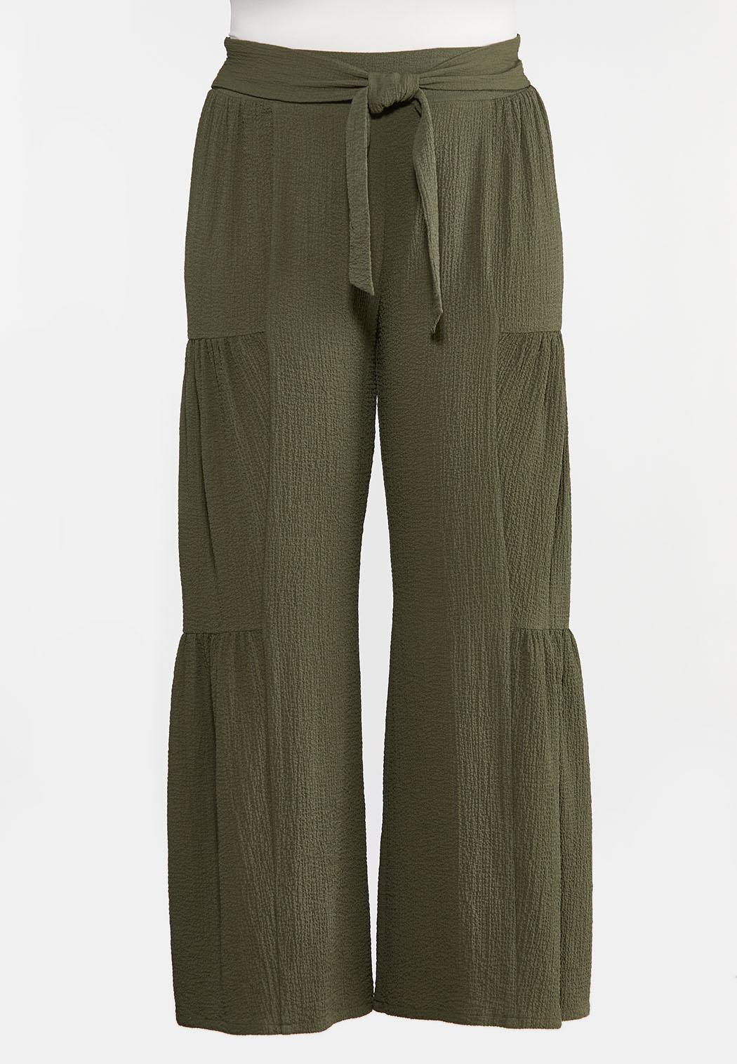 Plus Size Tiered Olive Pants (Item #44287731)