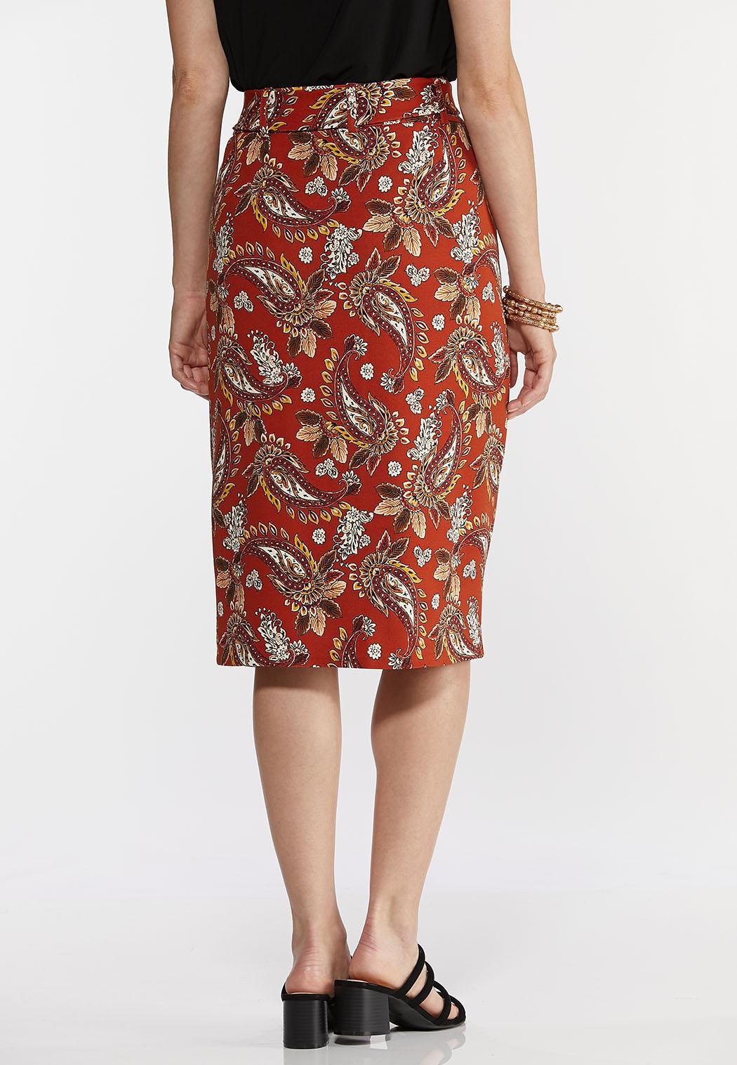 Plus Size Orange Paisley Pencil Skirt (Item #44288316)