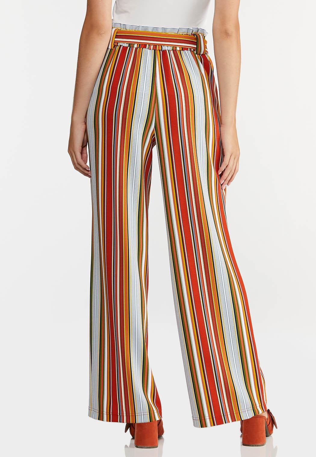 Striped Paperbag Palazzo Pants (Item #44288415)