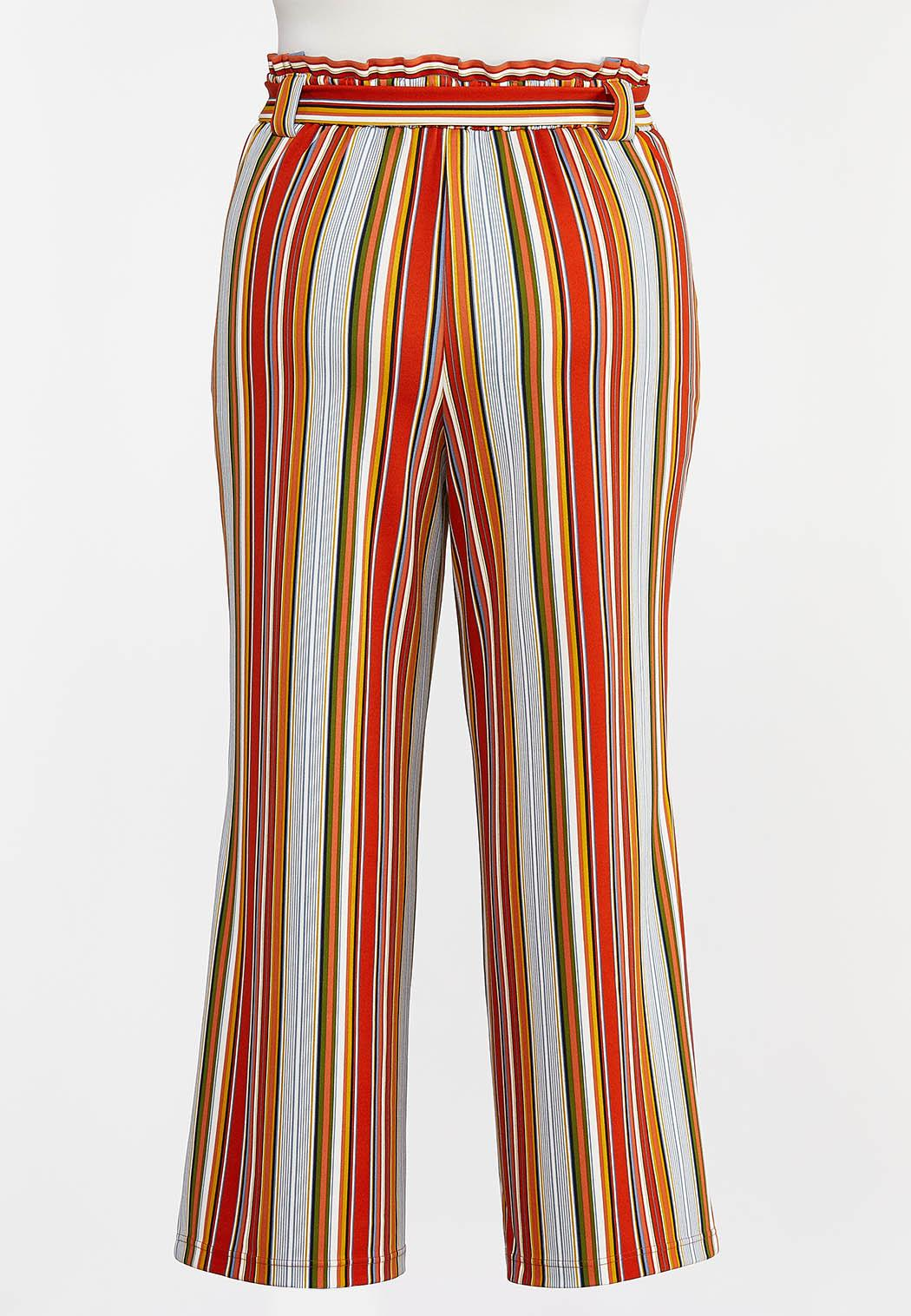 Plus Size Striped Paperbag Palazzo Pants (Item #44288465)