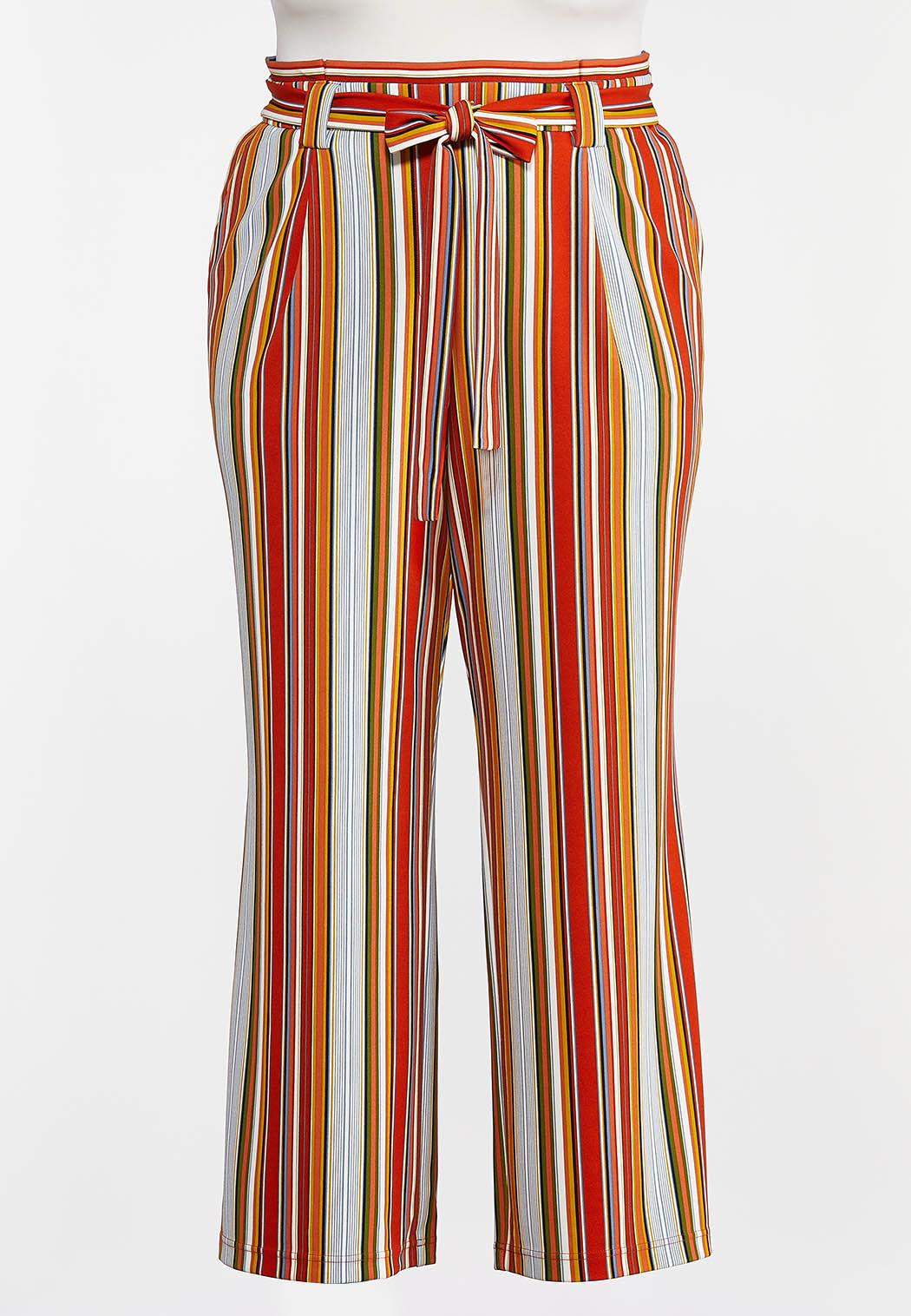 Plus Petite Striped Paperbag Palazzo Pants (Item #44288491)