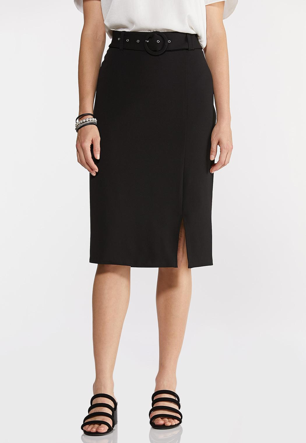 Plus Size Belted Pencil Skirt (Item #44288810)