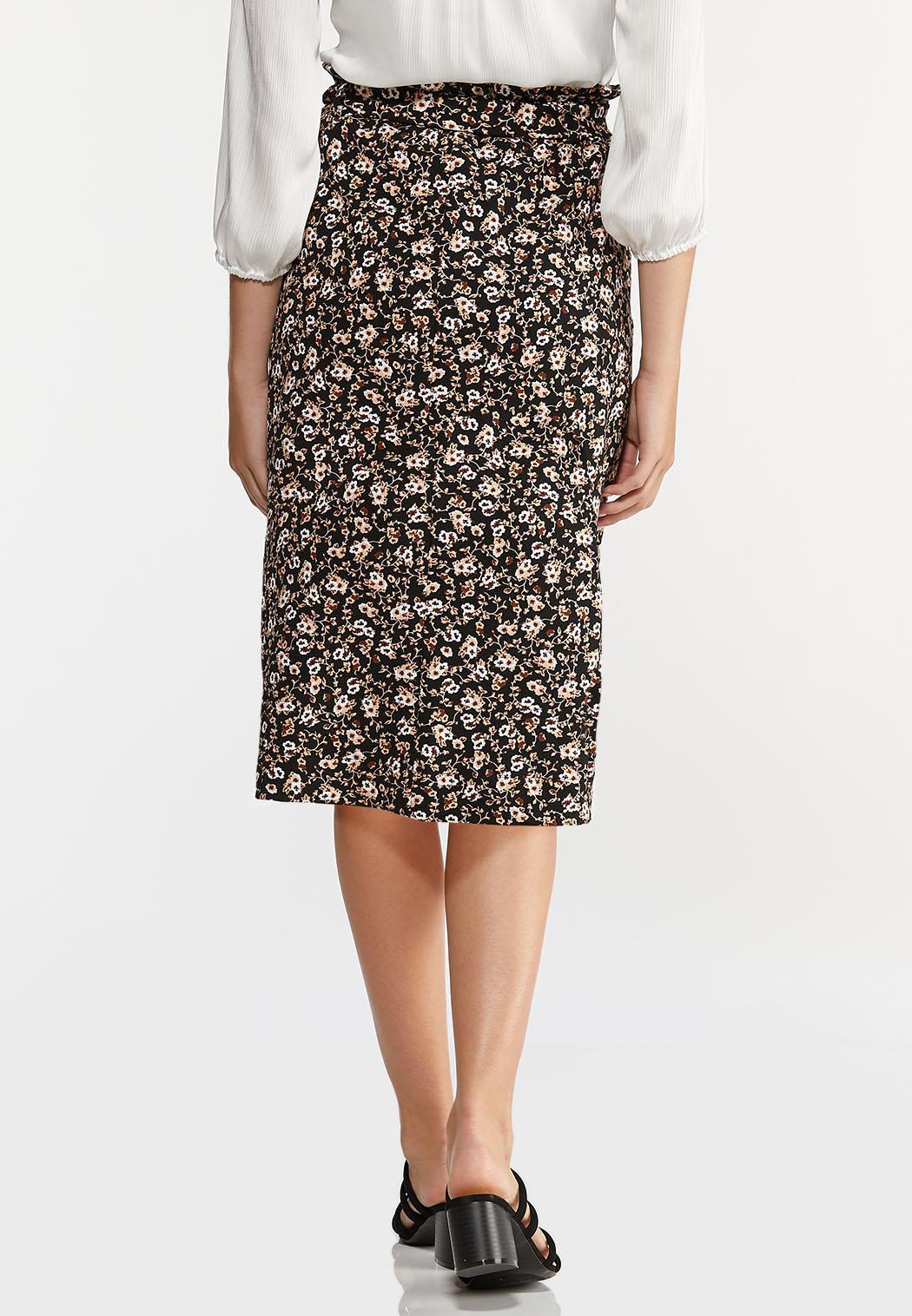 Plus Size Floral Garden Tie Waist Skirt (Item #44288948)