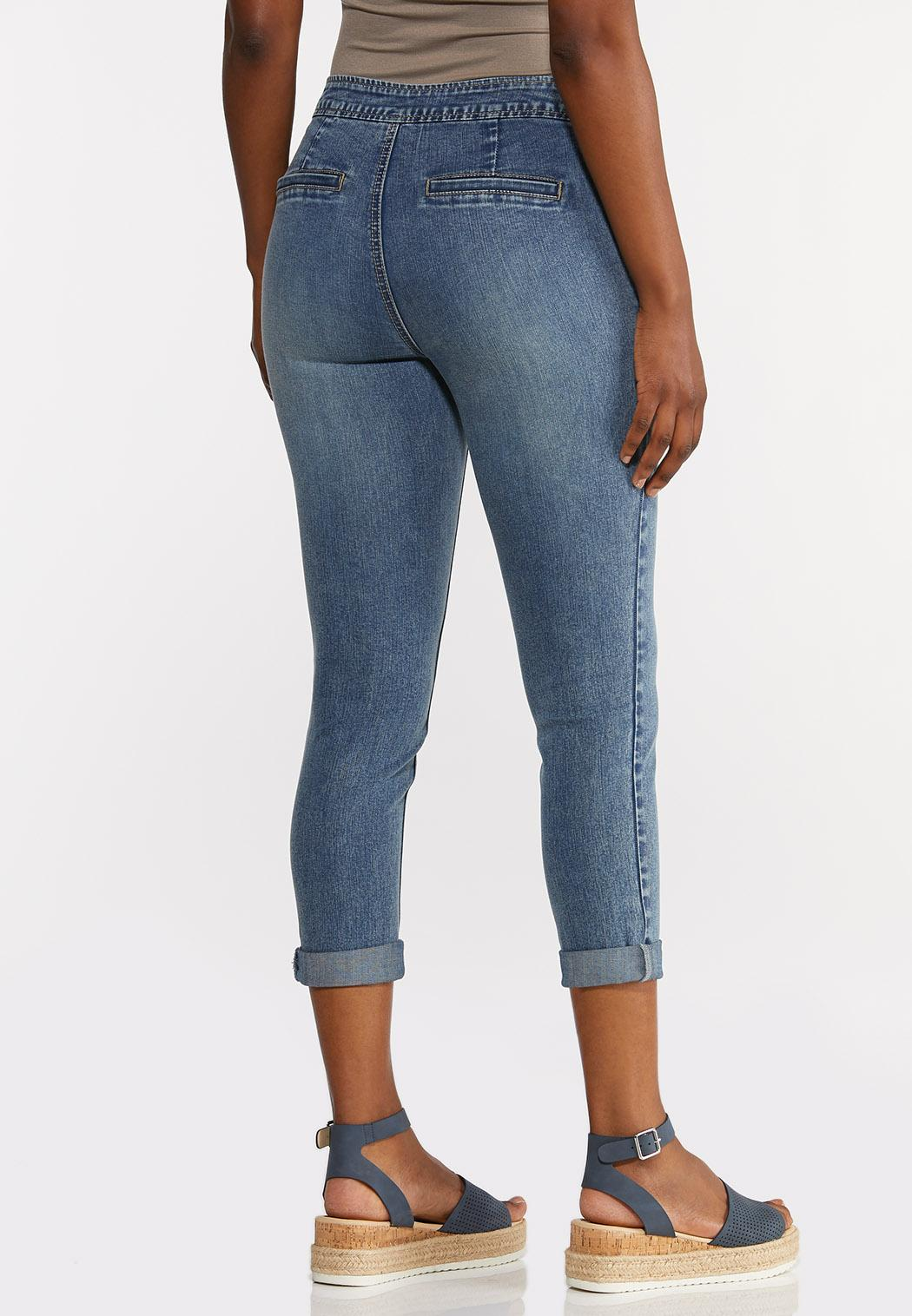 Cropped Tie Waist Jeans (Item #44290132)