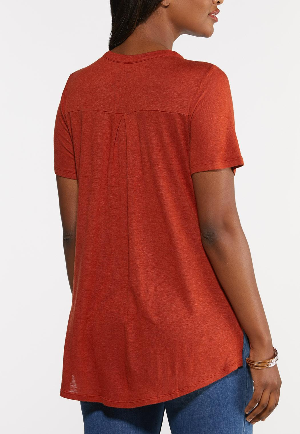 Plus Size Lace Up Tee (Item #44290176)