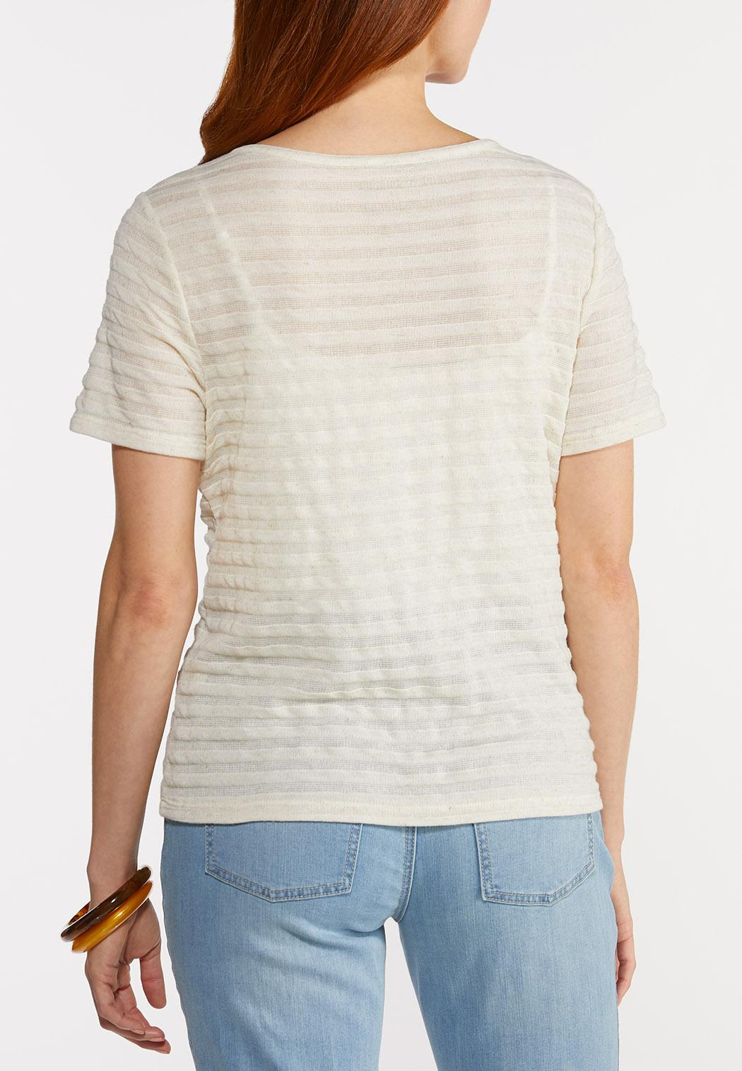 Plus Size Ribbed Linen Top (Item #44290705)