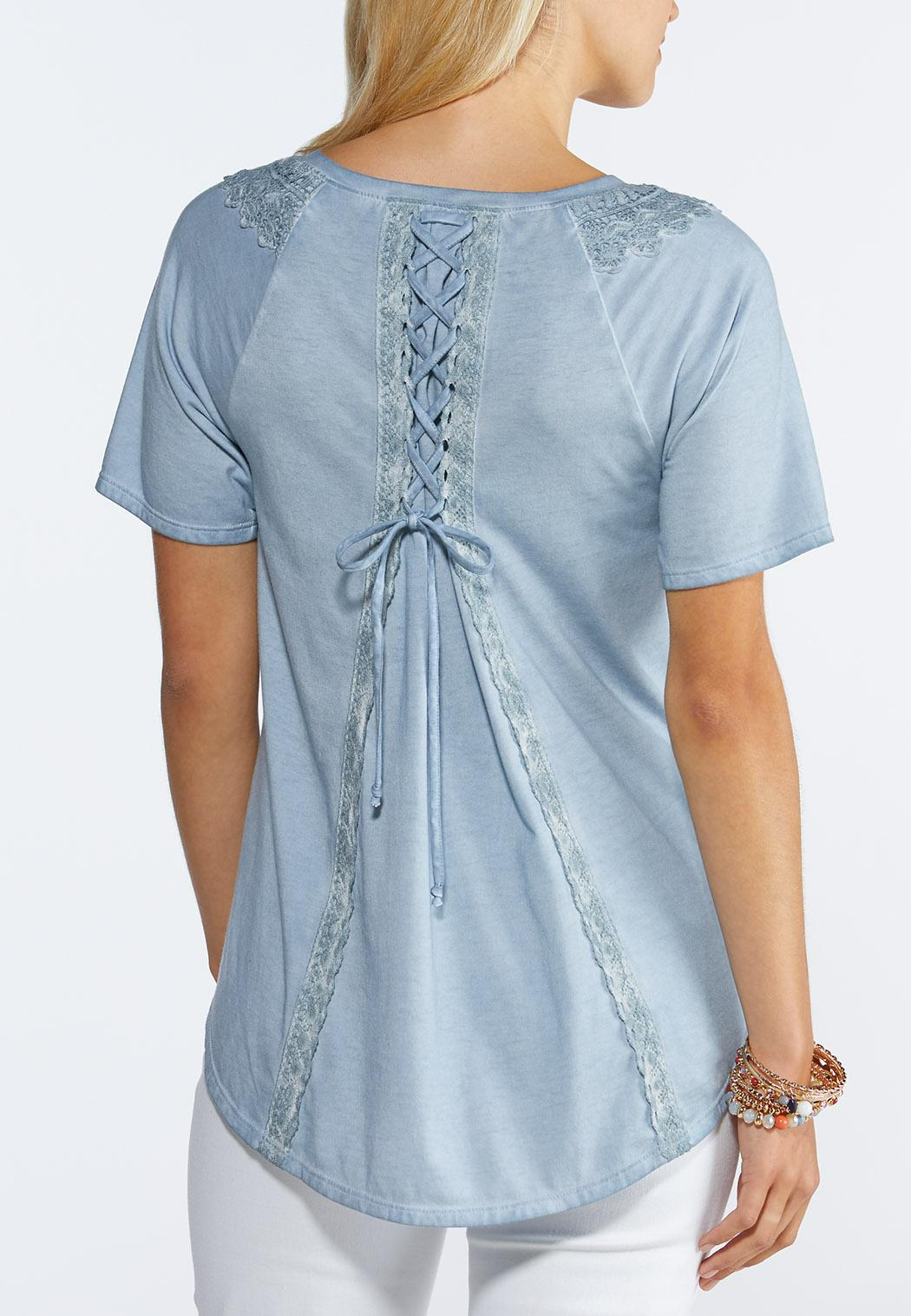 Plus Size Washed Lace Up Top (Item #44290741)