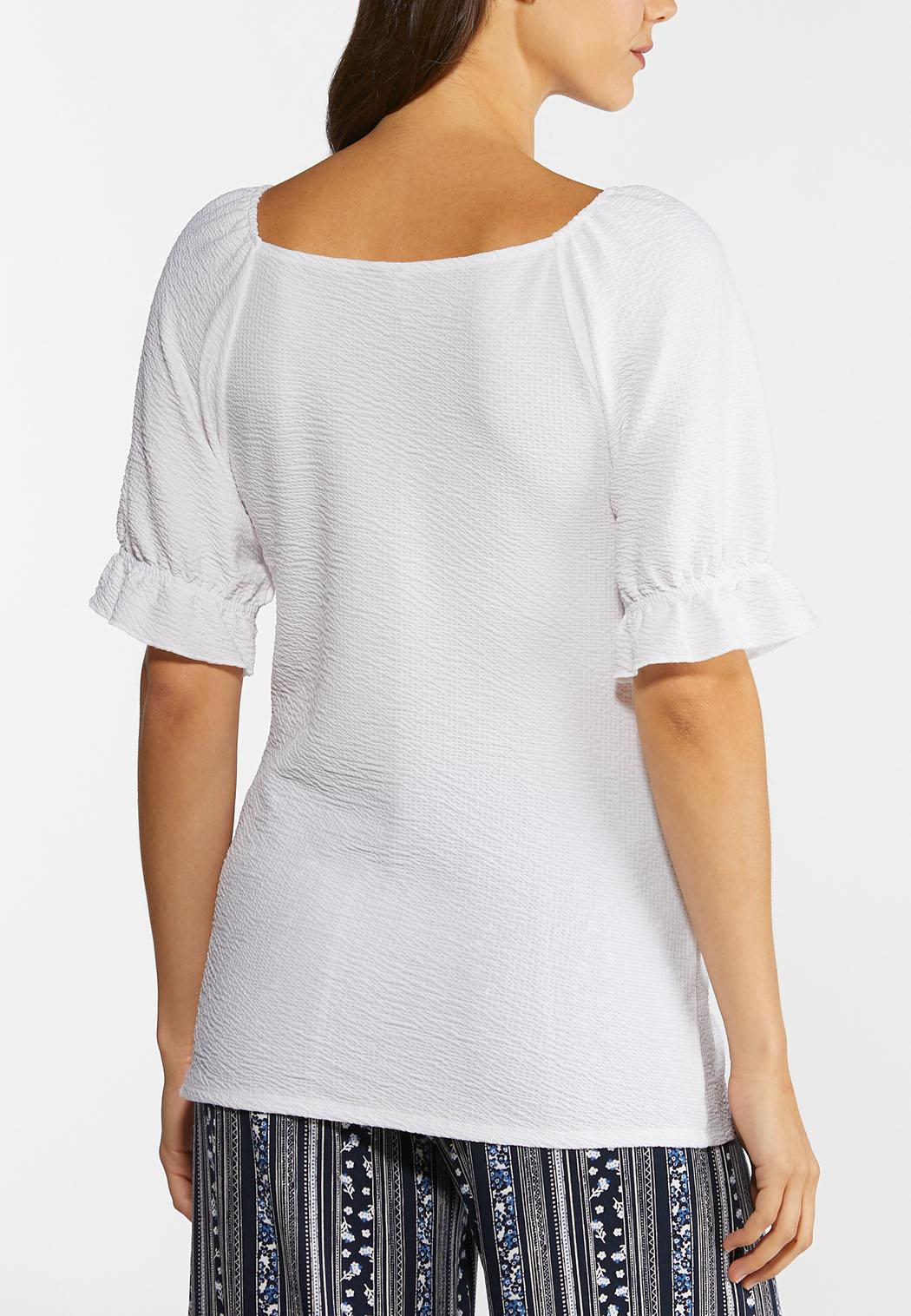 Plus Size White Textured Top (Item #44290850)