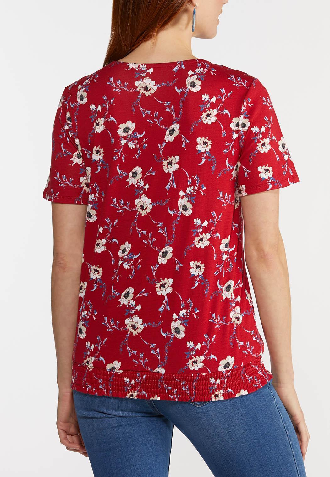 Plus Size Floral Border Wrap Top (Item #44290894)