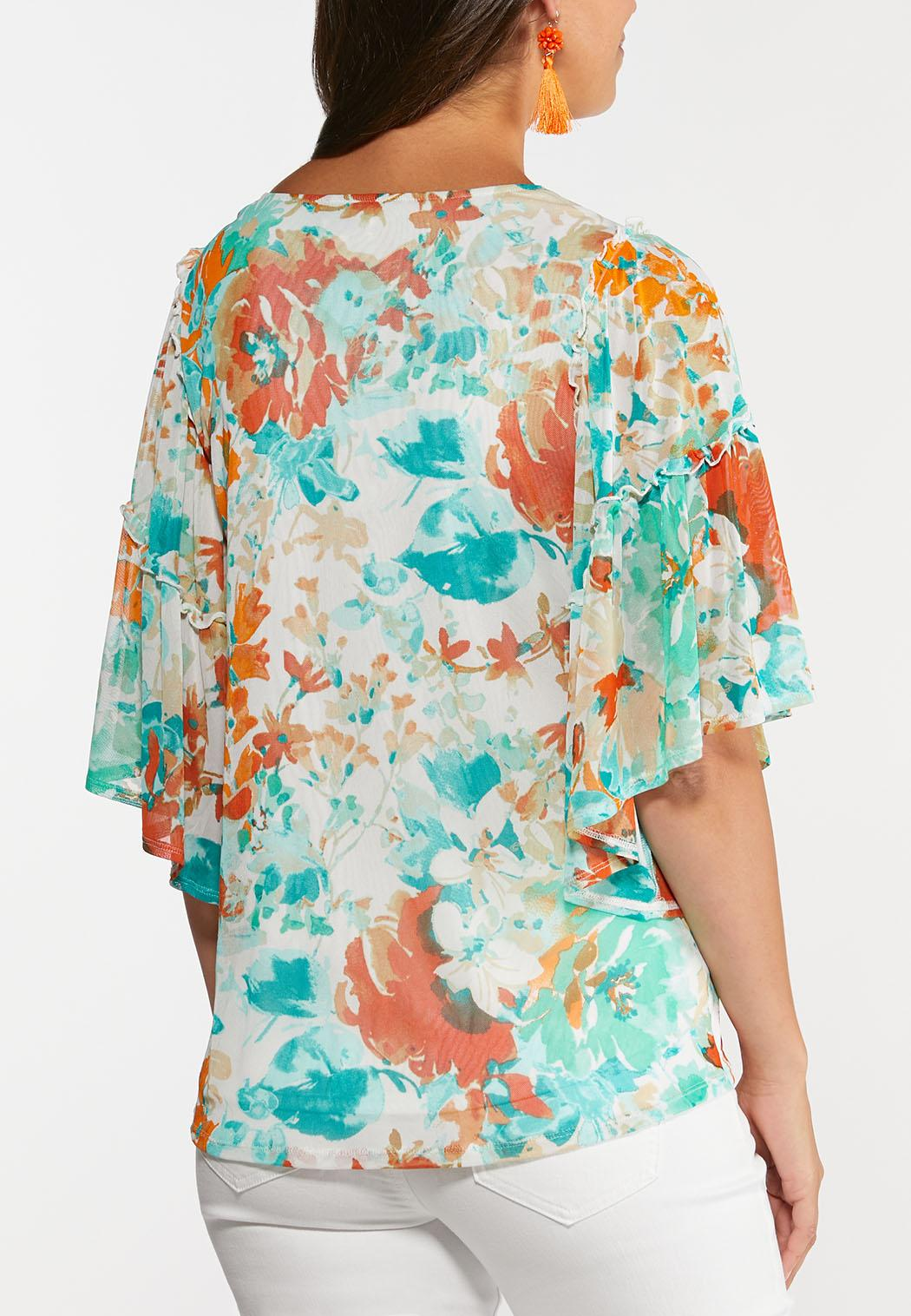 Tropical Floral Mesh Top (Item #44291252)