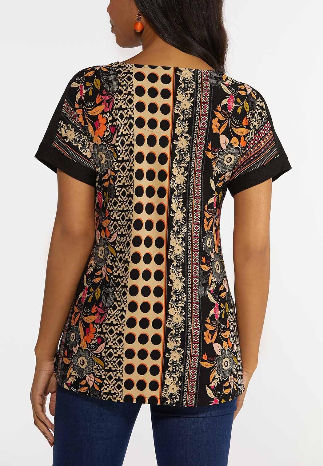 Crochet Shoulder Mixed Print Top (Item #44291293)