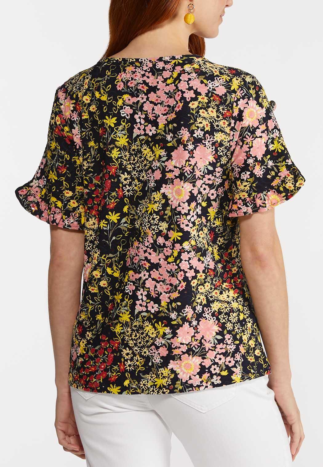 Plus Size Floral Eyelet Top (Item #44291586)