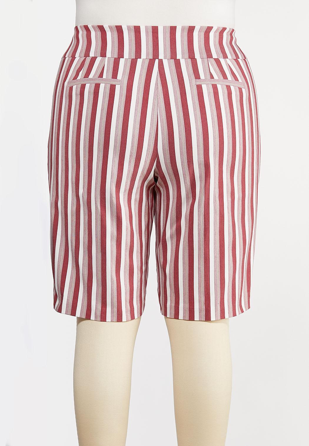 Plus Size Chili Stripe Bermuda Shorts (Item #44291641)