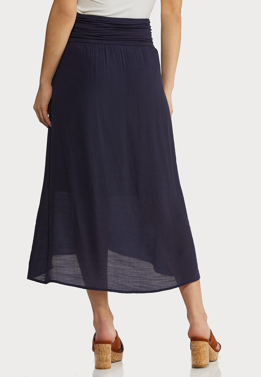 Plus Size Solid Wrap Midi Skirt (Item #44291916)