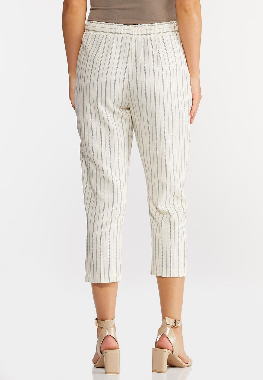 Cropped Striped Linen Pants (Item #44292535)