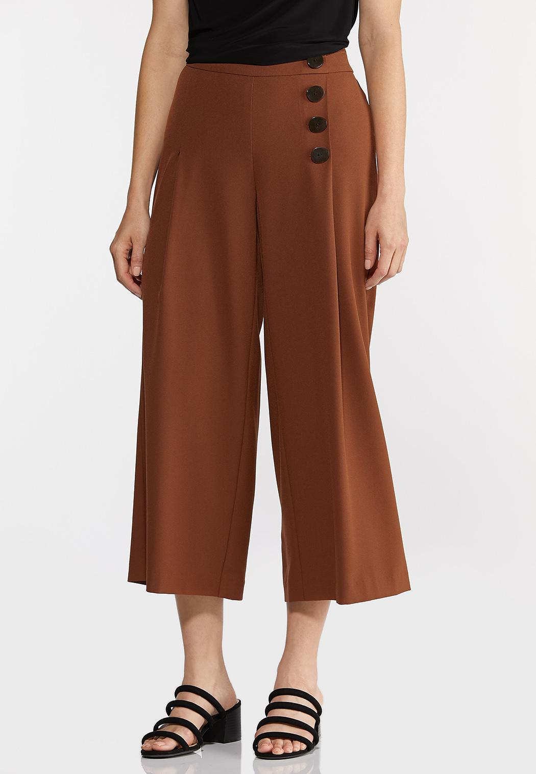 Cropped Button Front Pants (Item #44292545)