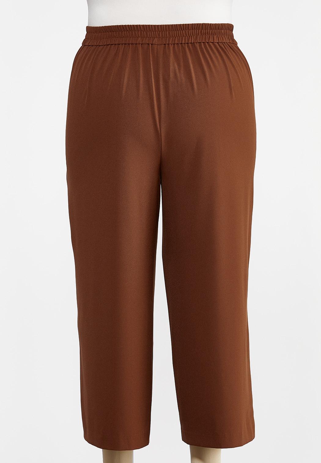 Plus Size Cropped Button Front Pants (Item #44292607)