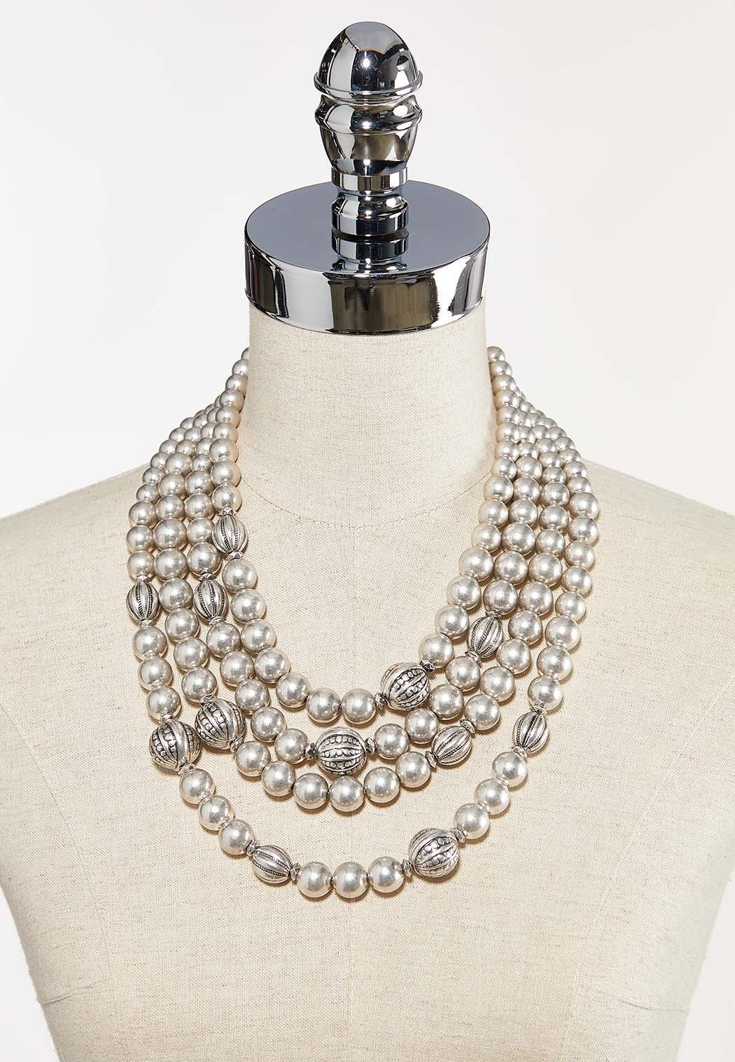 Metal Pearl Necklace (Item #44293423)