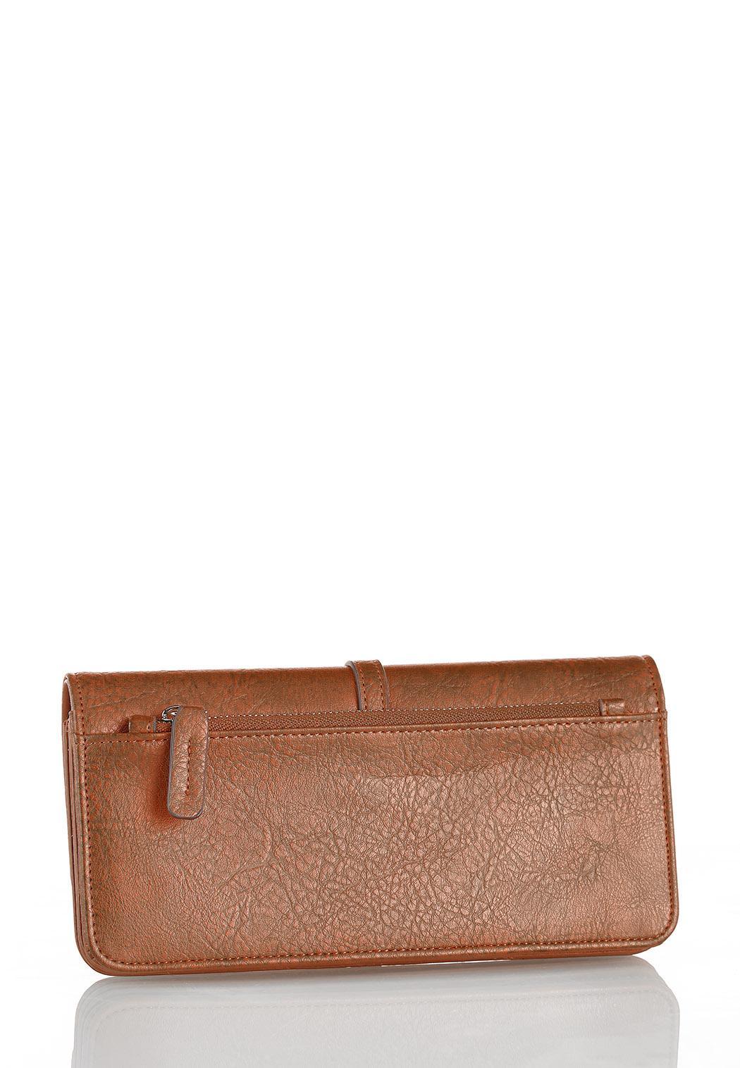Metal Tab Cognac Wallet (Item #44293745)