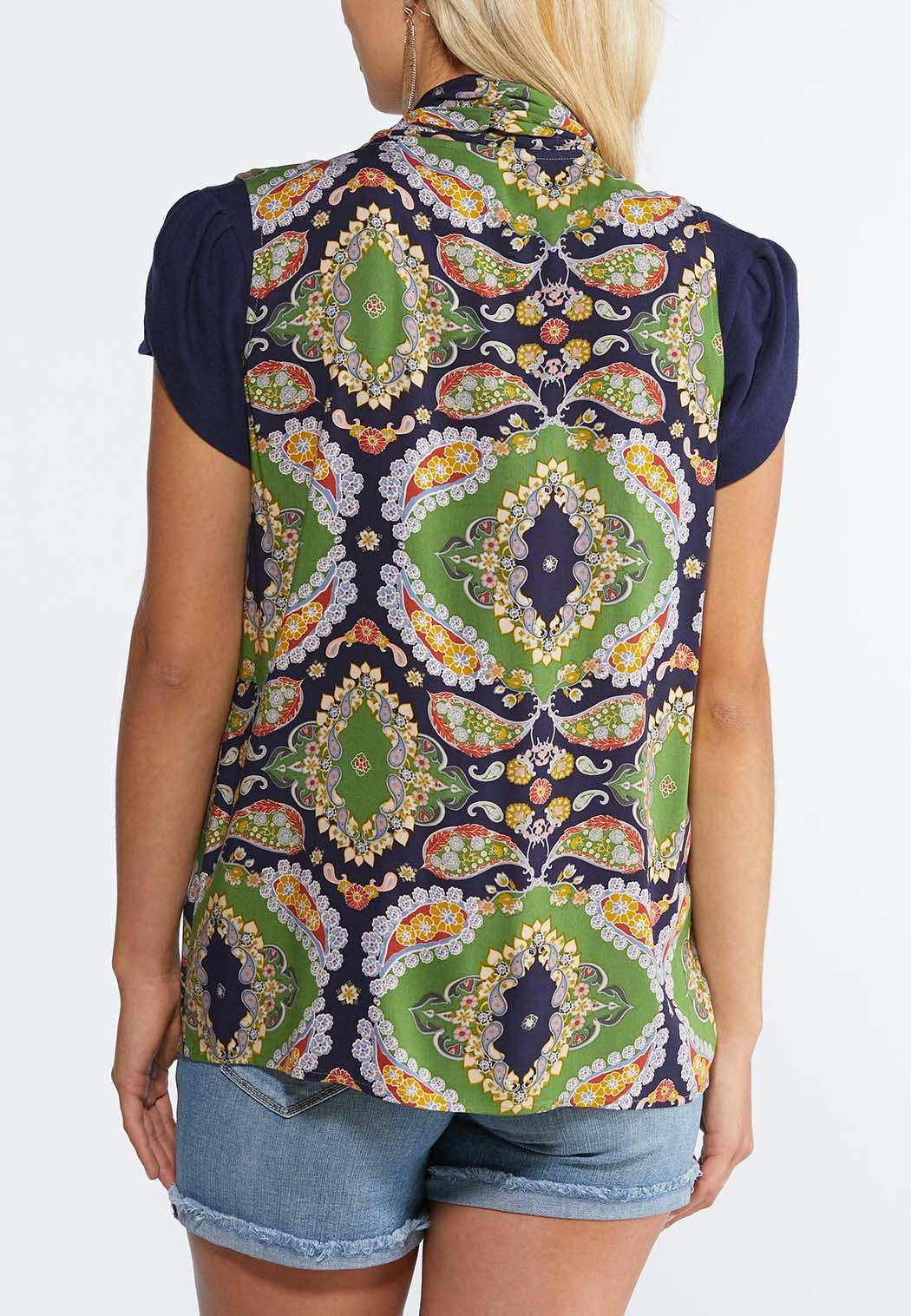 Plus Size Green Paisley Vest (Item #44294102)