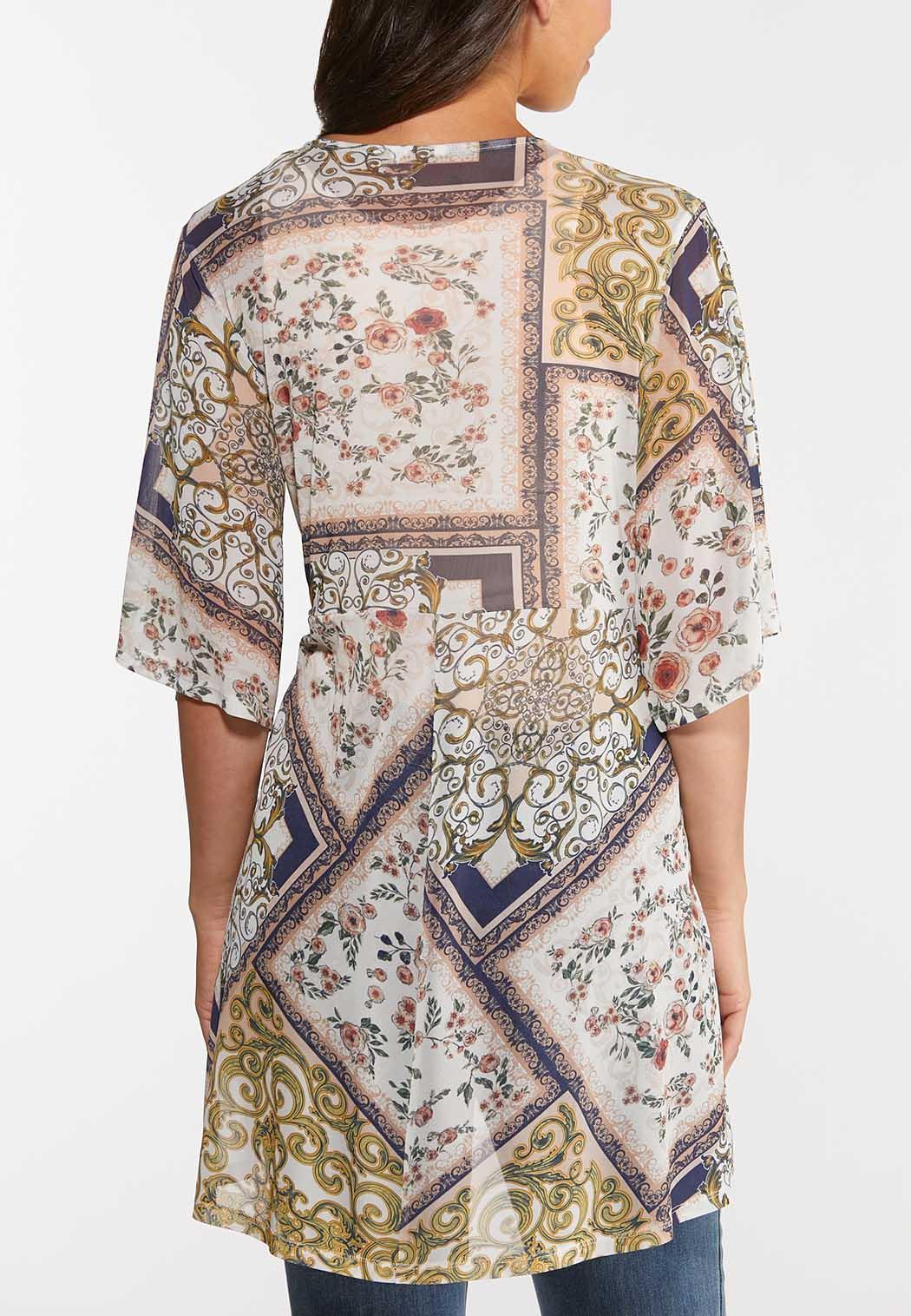 Plus Size Mesh Paisley Patchwork Cardigan (Item #44294258)