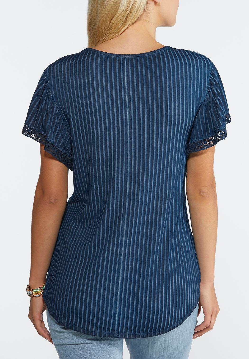 Plus Size Ribbed Crochet Trim Top (Item #44294294)