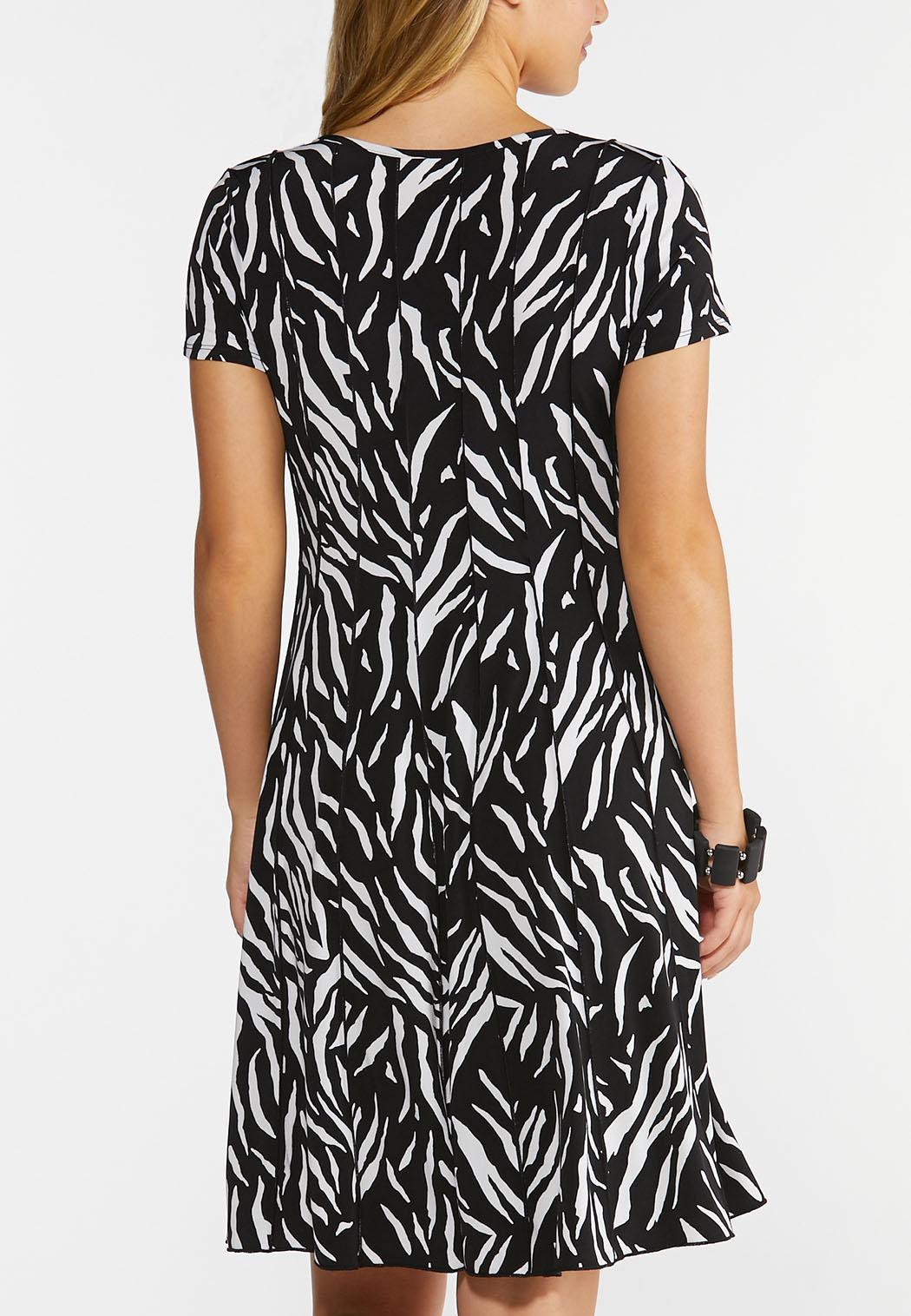 Plus Size Embellished Zebra Print Dress (Item #44294667)