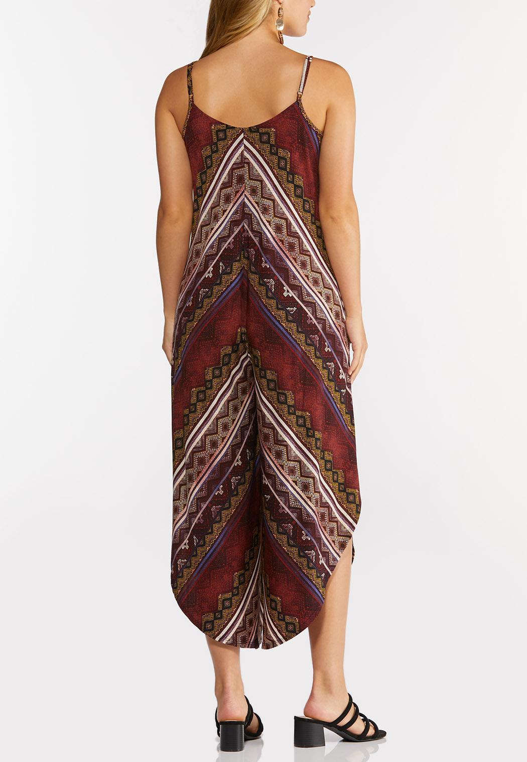 Plus Size Cranberry Mitered Striped Jumpsuit (Item #44294935)