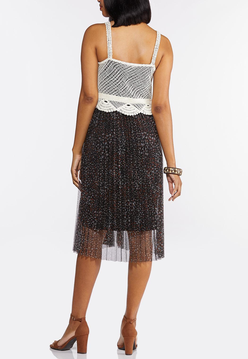 Printed Mesh Crochet Top Dress (Item #44294943)