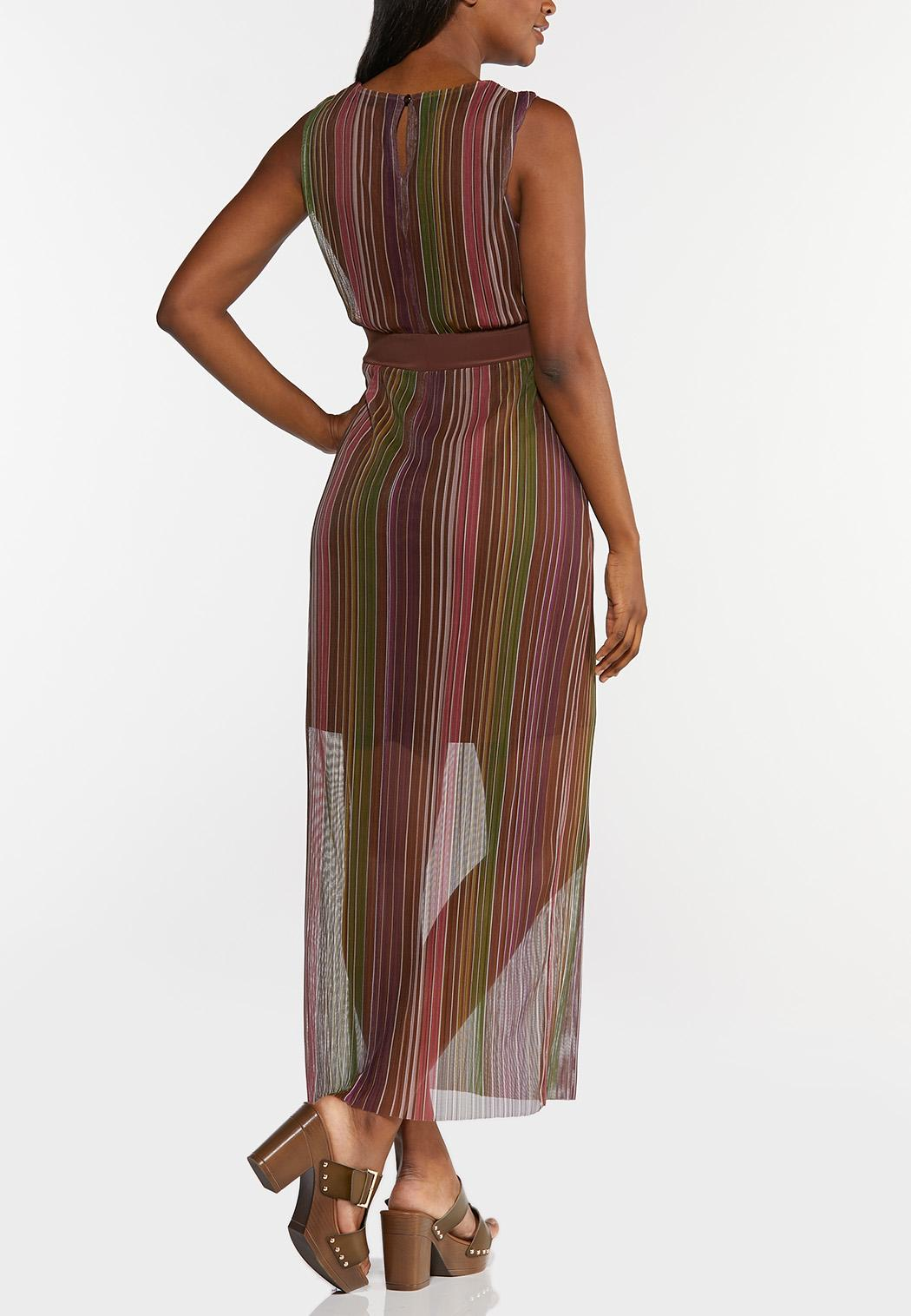 Plus Size Stripe Mesh Maxi Dress (Item #44295004)