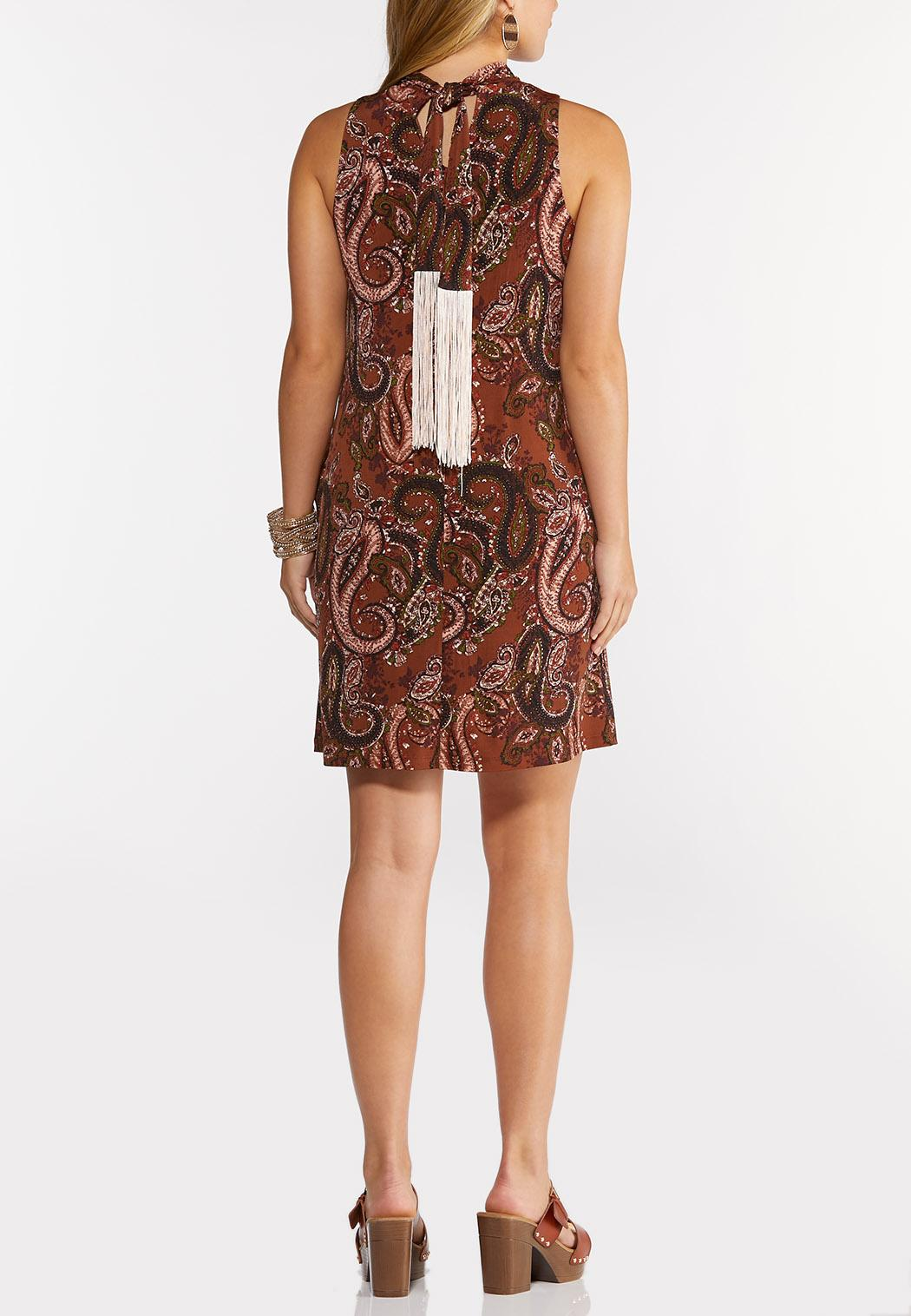 Plus Size Paisley Fringe Tie Neck Dress (Item #44295040)