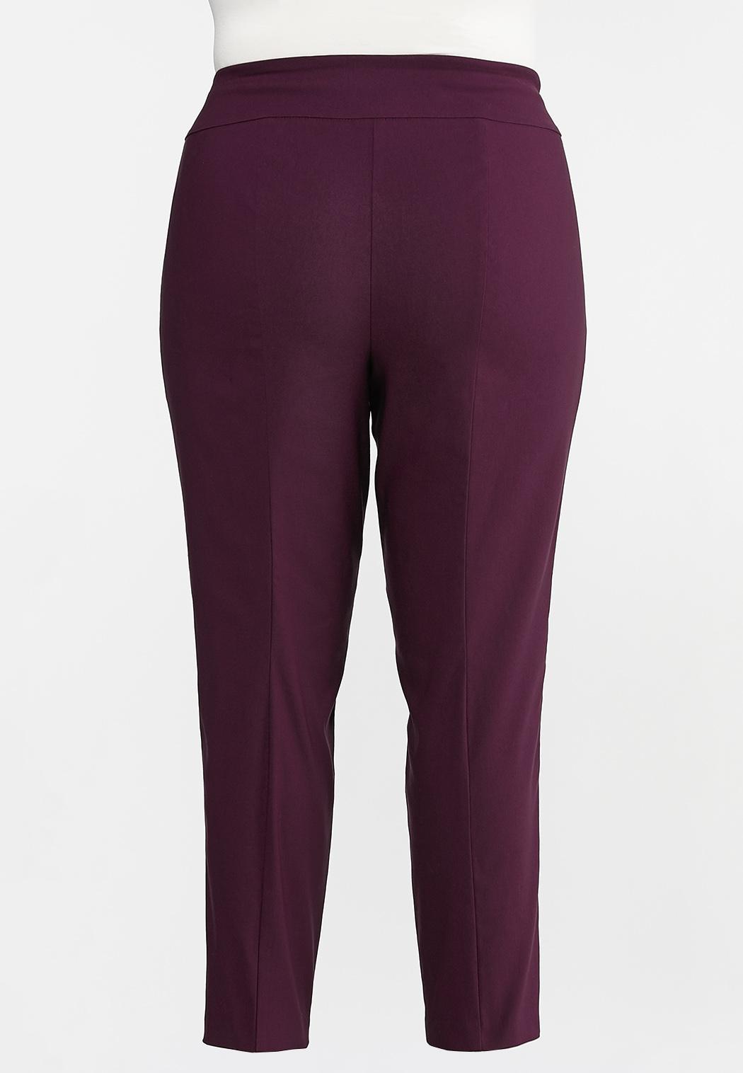 Plus Size Purple Belted Bengaline Pants (Item #44295331)