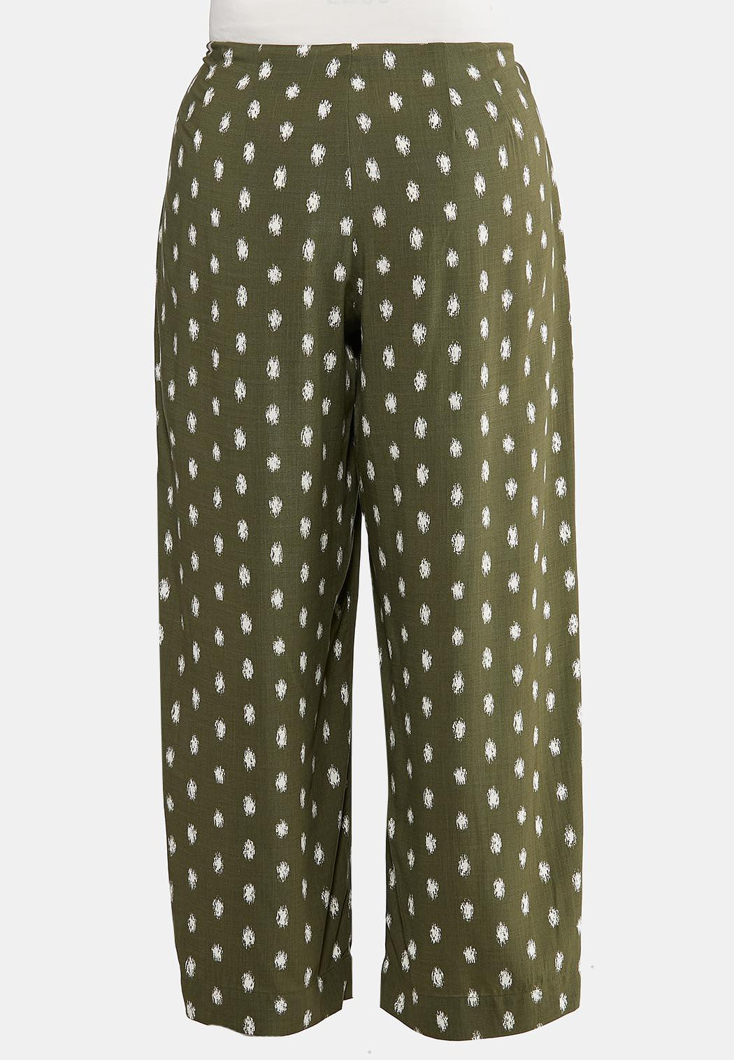 Plus Size Dotted Olive Pants (Item #44295493)