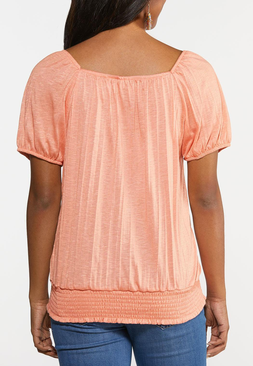 Plus Size Lacy Smocked Waist Top (Item #44296136)