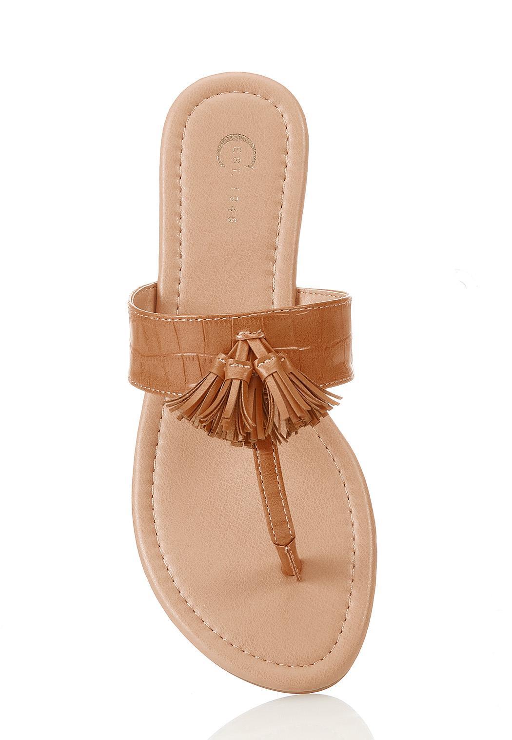 Croc Tasseled Thong Sandals (Item #44296350)