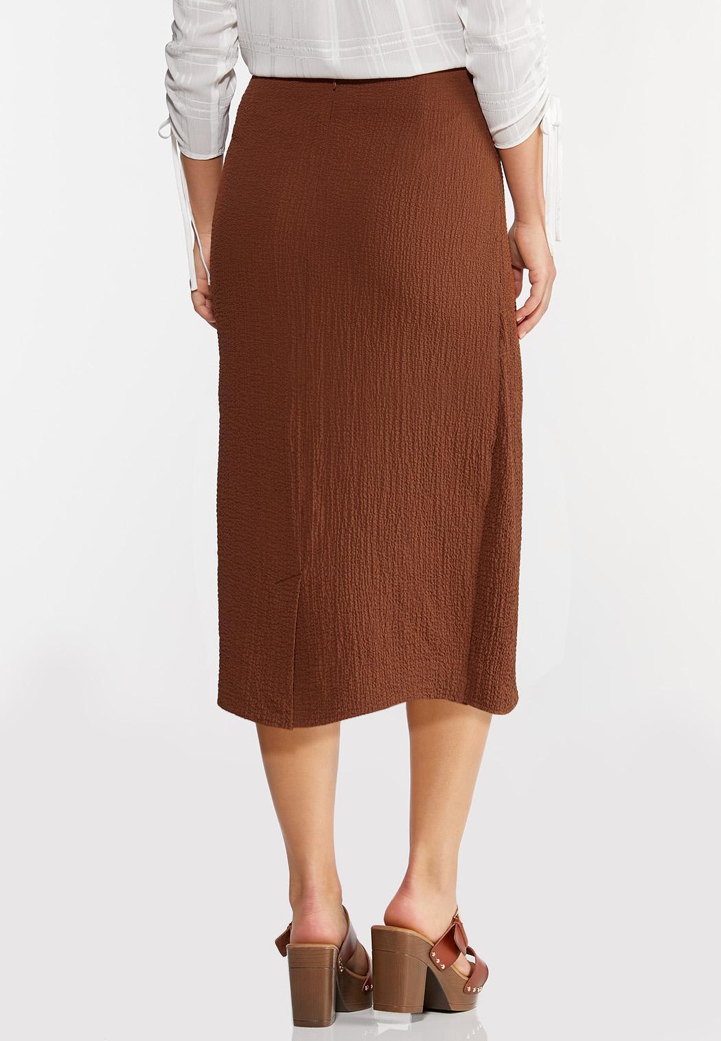 Plus Size Textured Wrap Pencil Skirt (Item #44296385)