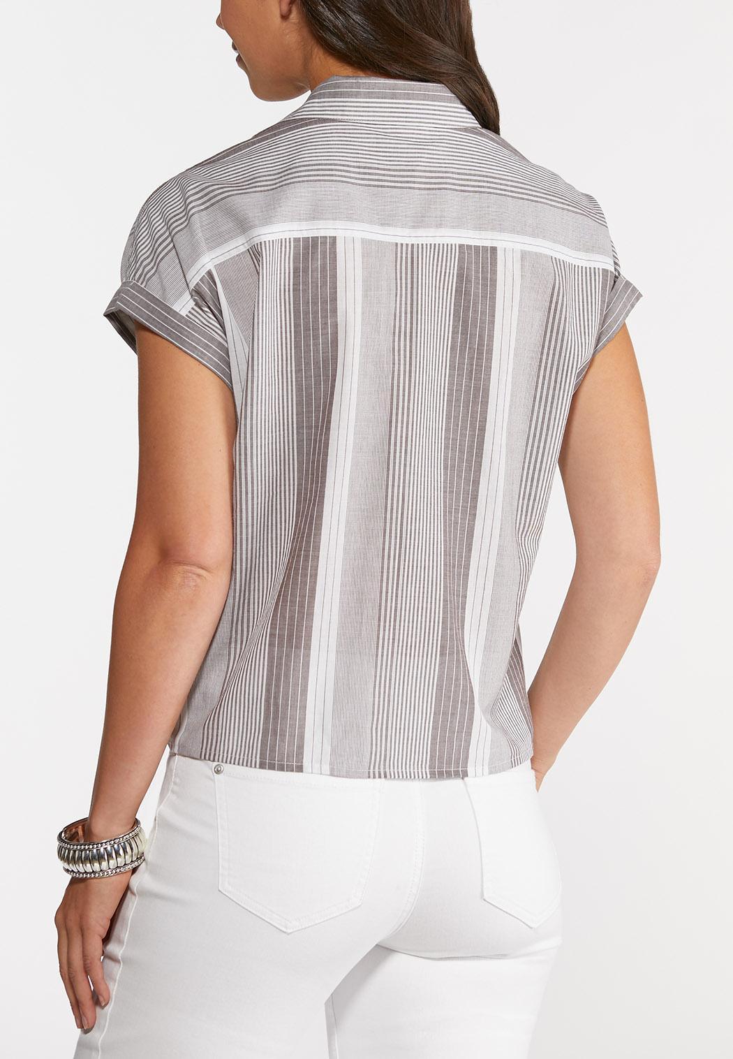 Striped Tie Hem Top (Item #44296462)