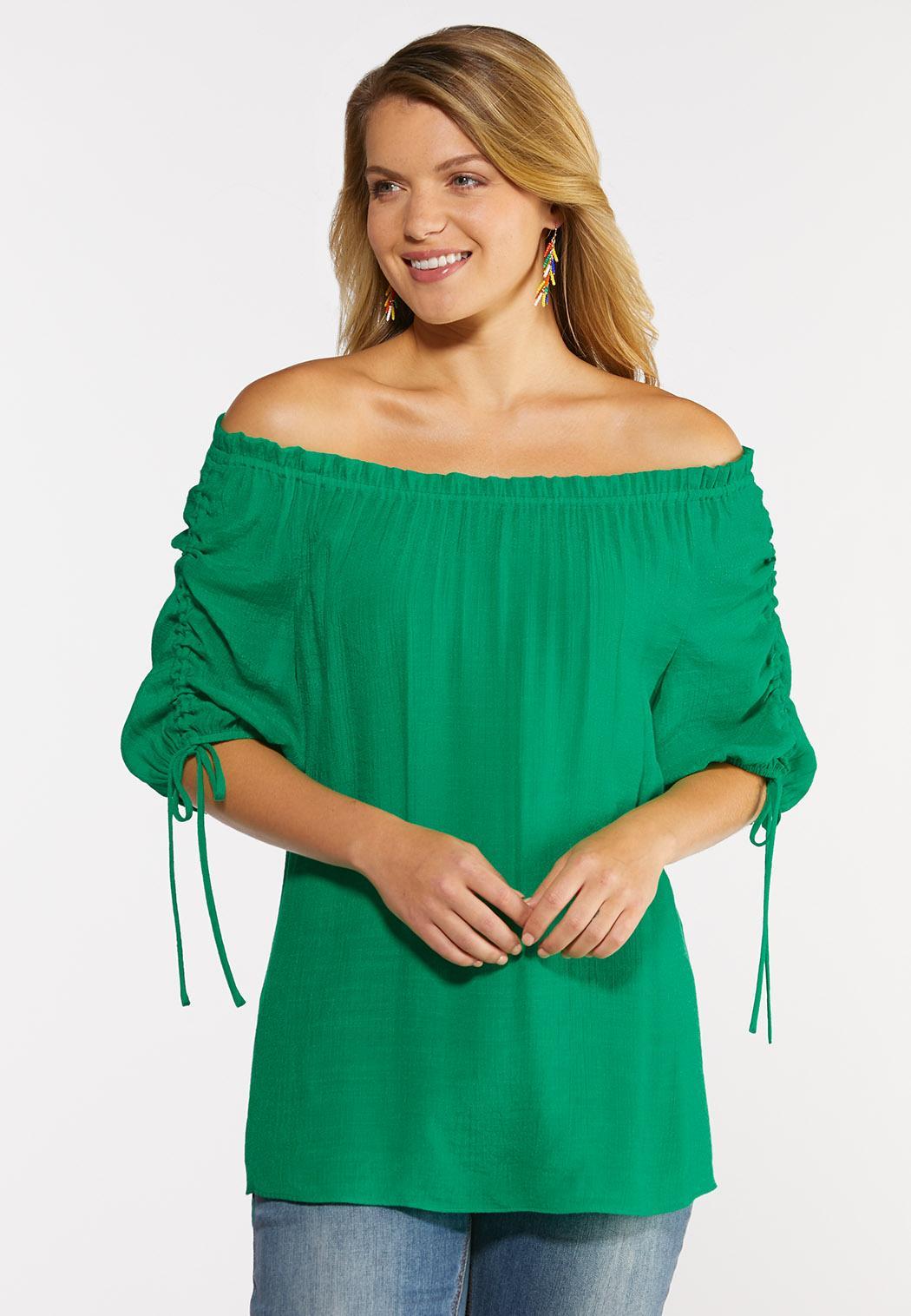 Plus Size Gauzy Cinch Sleeve Top (Item #44296589)