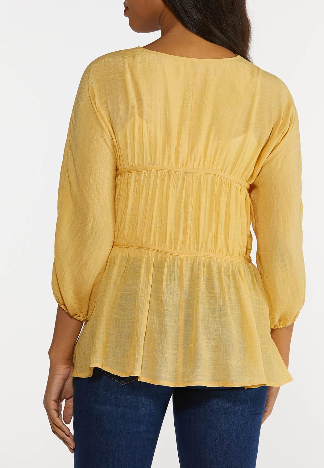 Plus Size Tiered Balloon Sleeve Top (Item #44296783)