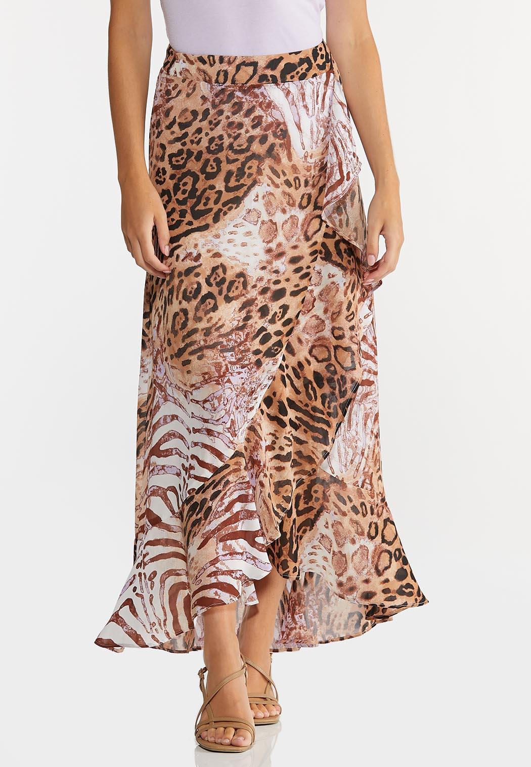 Plus Size Leopard Wrap Maxi Skirt (Item #44296820)