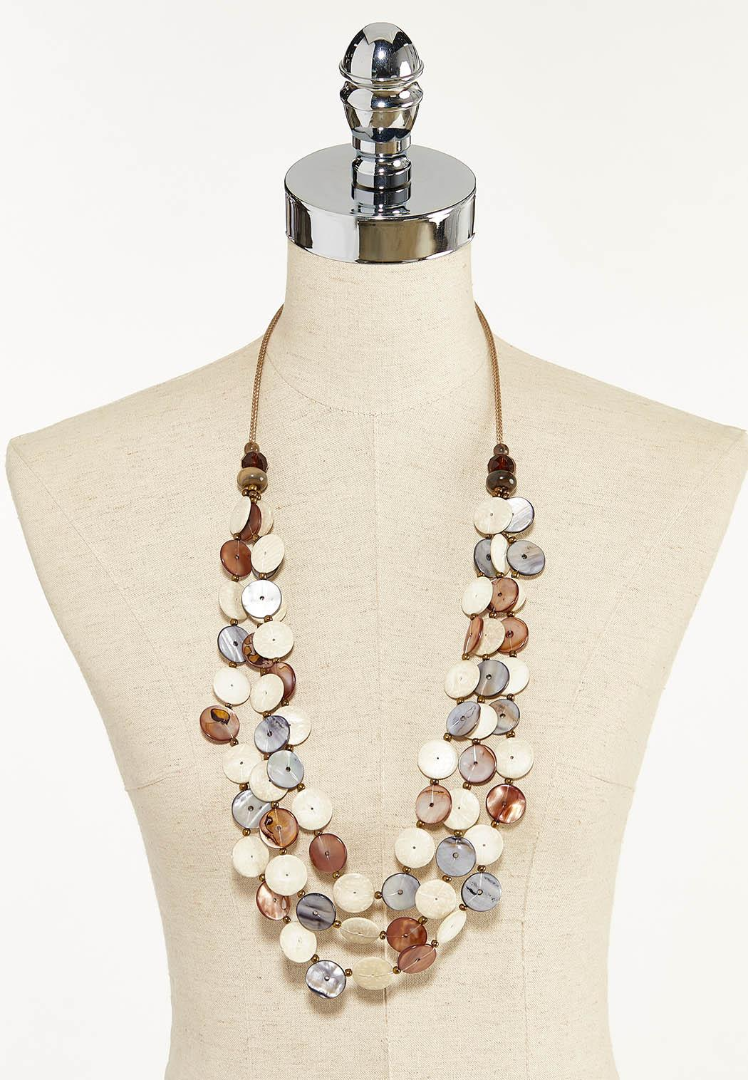 Shell Disc Layered Cord Necklace (Item #44296974)