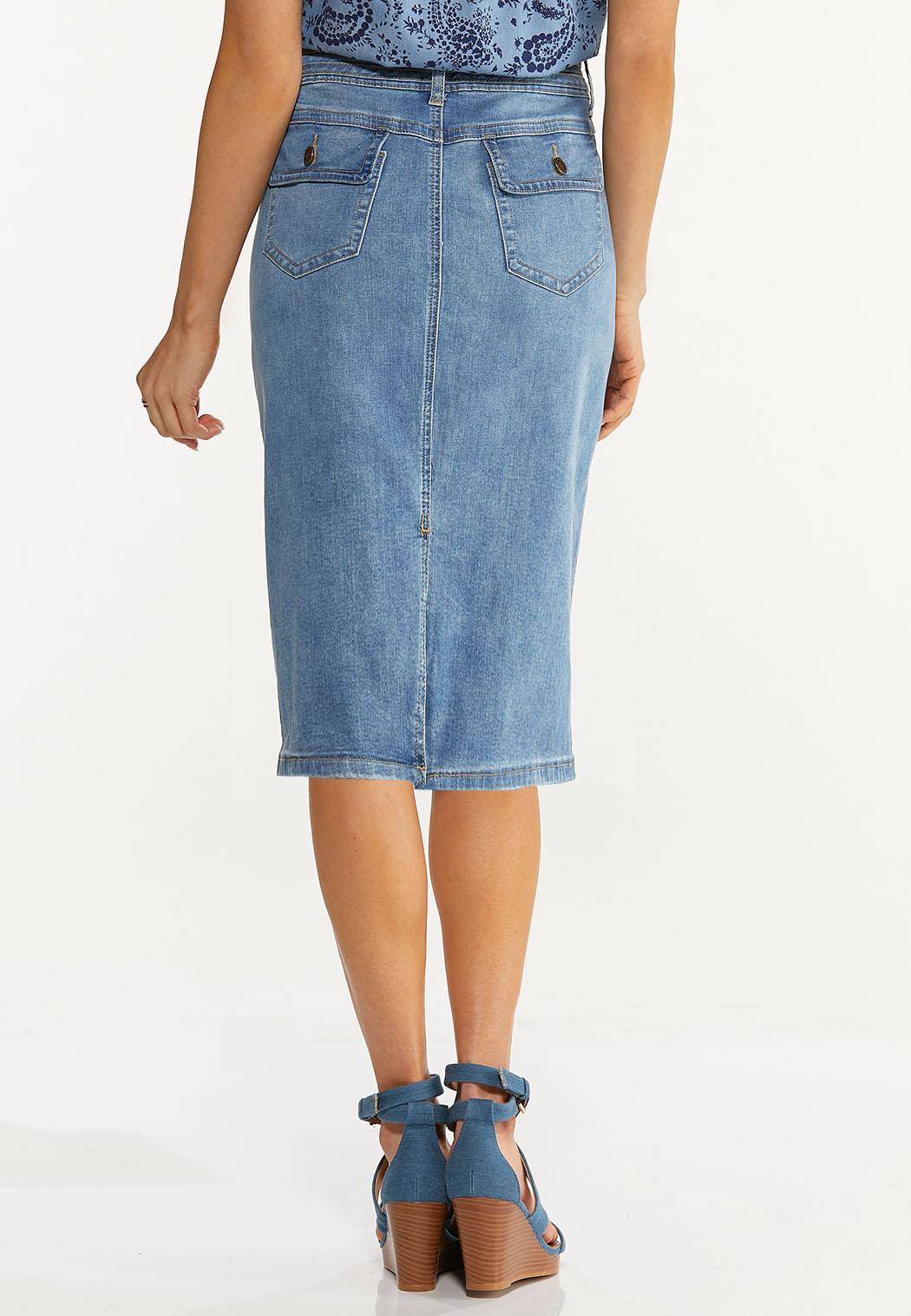 Plus Size Stretch Denim Skirt (Item #44298052)
