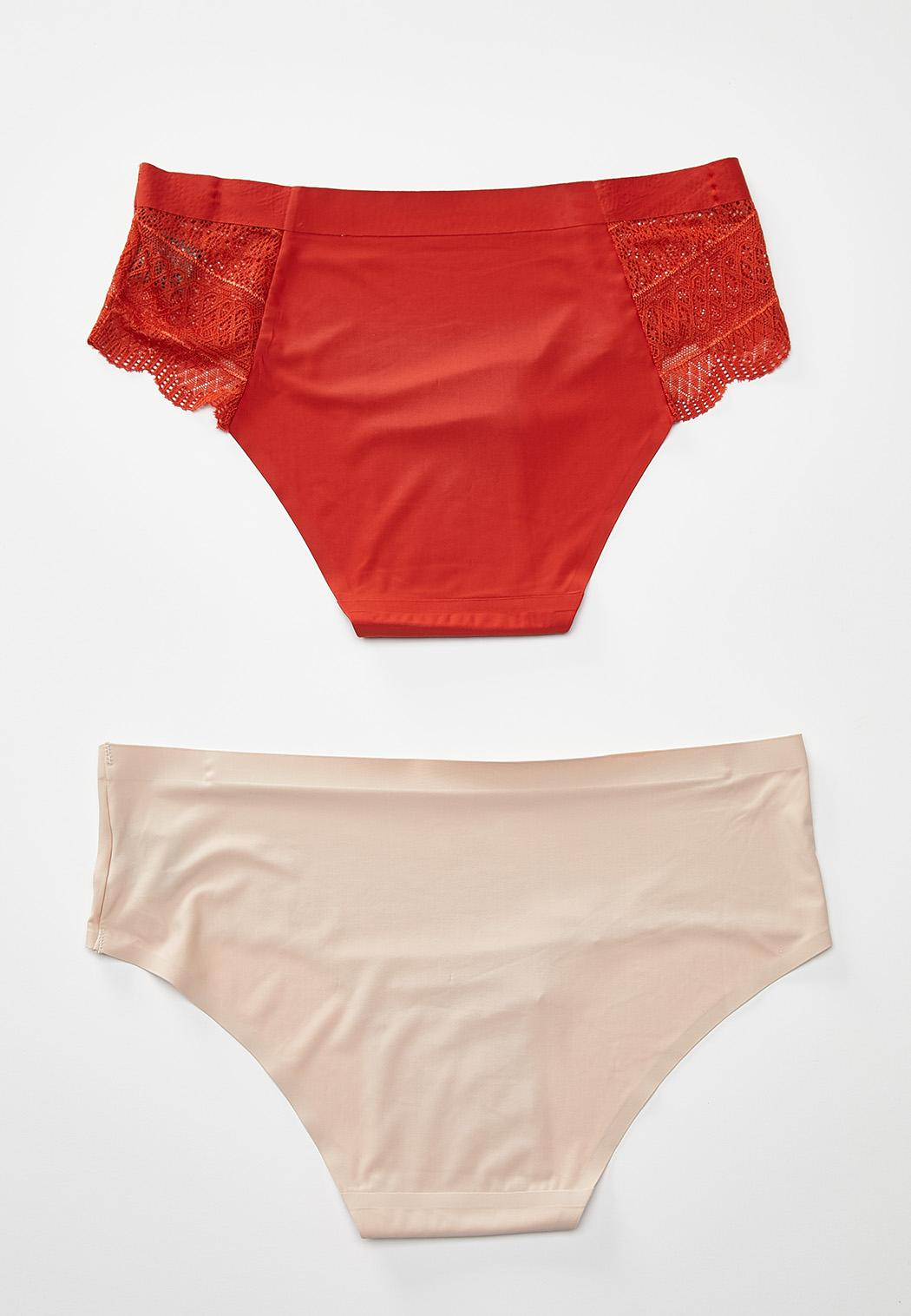 Plus Size Rust And Nude Hipster Panty Set (Item #44298569)