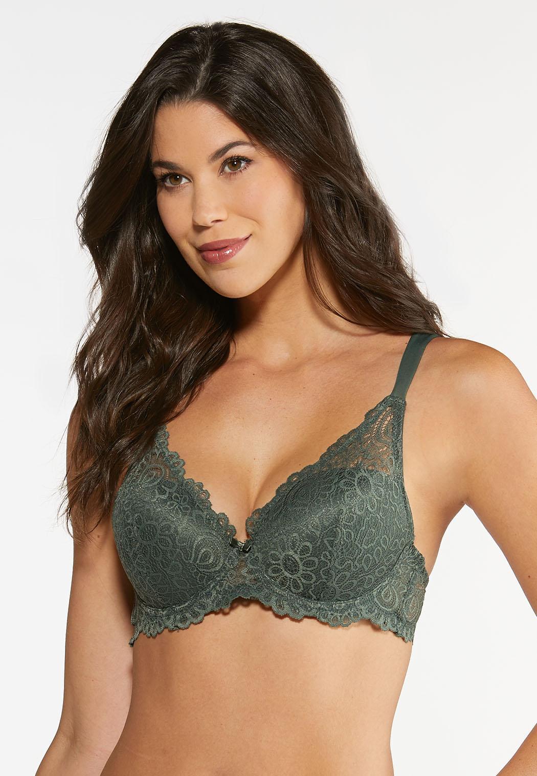 Plus Size Allover Lace Push-Up Bra Set (Item #44298745)