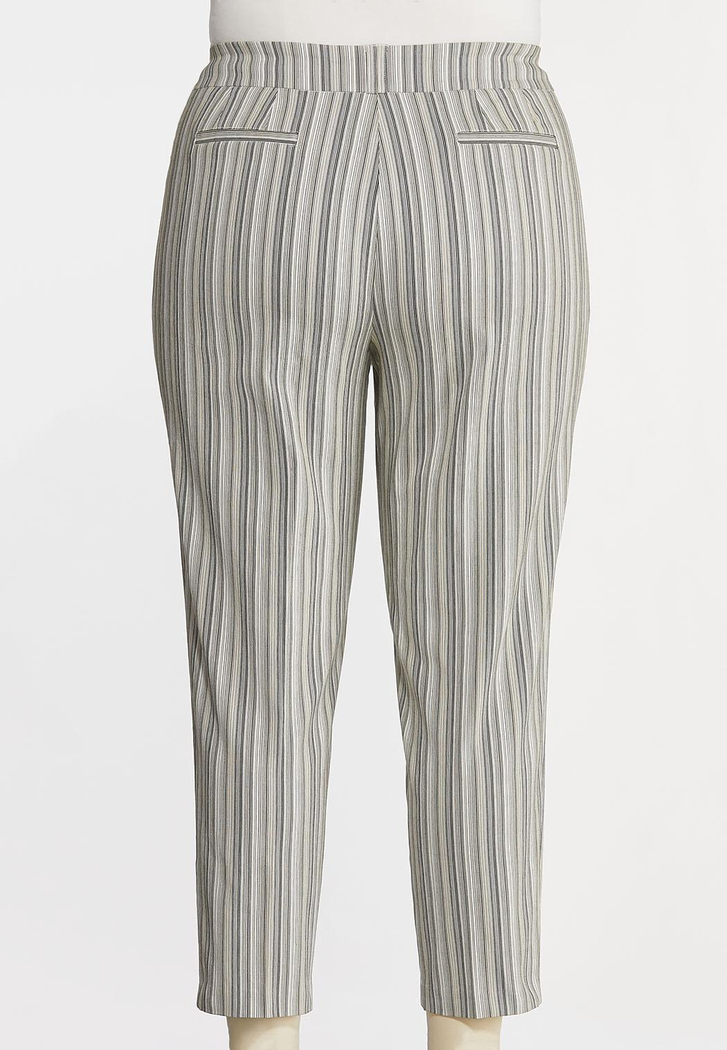 Plus Size Button Pocket Stripe Pants (Item #44299997)