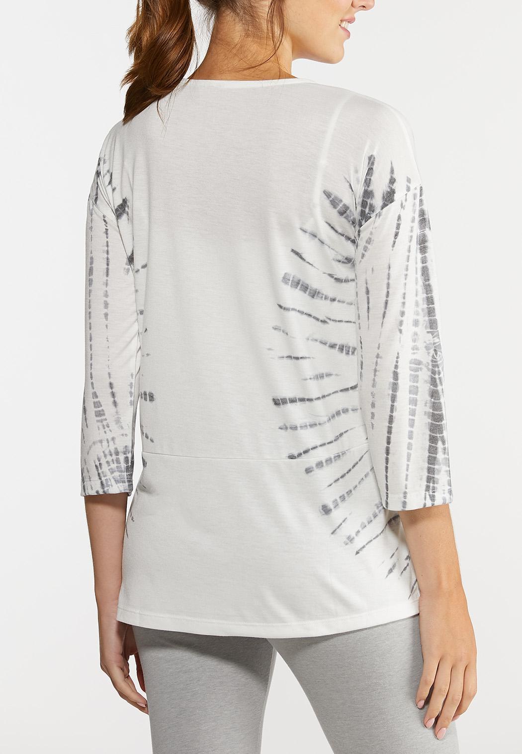 Plus Size Tie Dye Elbow Sleeve Top (Item #44300111)
