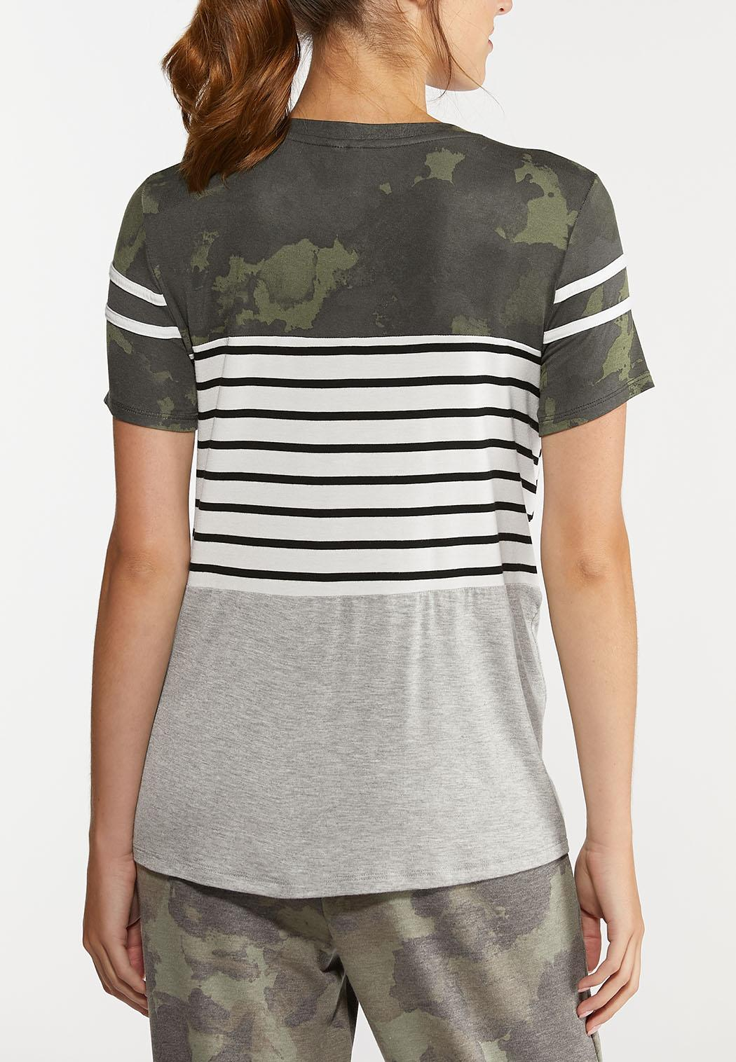 Plus Size Camo Stripe Knotted Tee (Item #44300162)