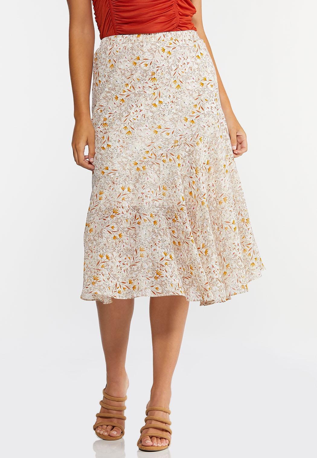 Plus Size Floral Breeze Midi Skirt (Item #44300183)