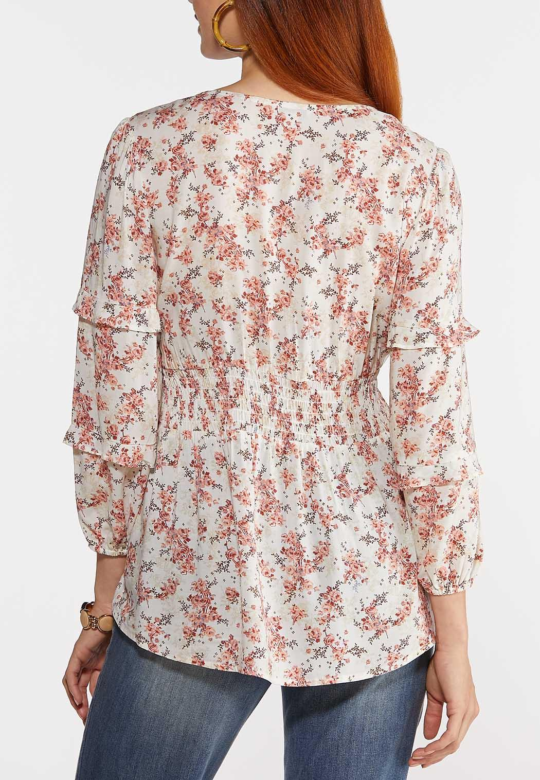 Plus Size Floral Sweetheart Top (Item #44300459)