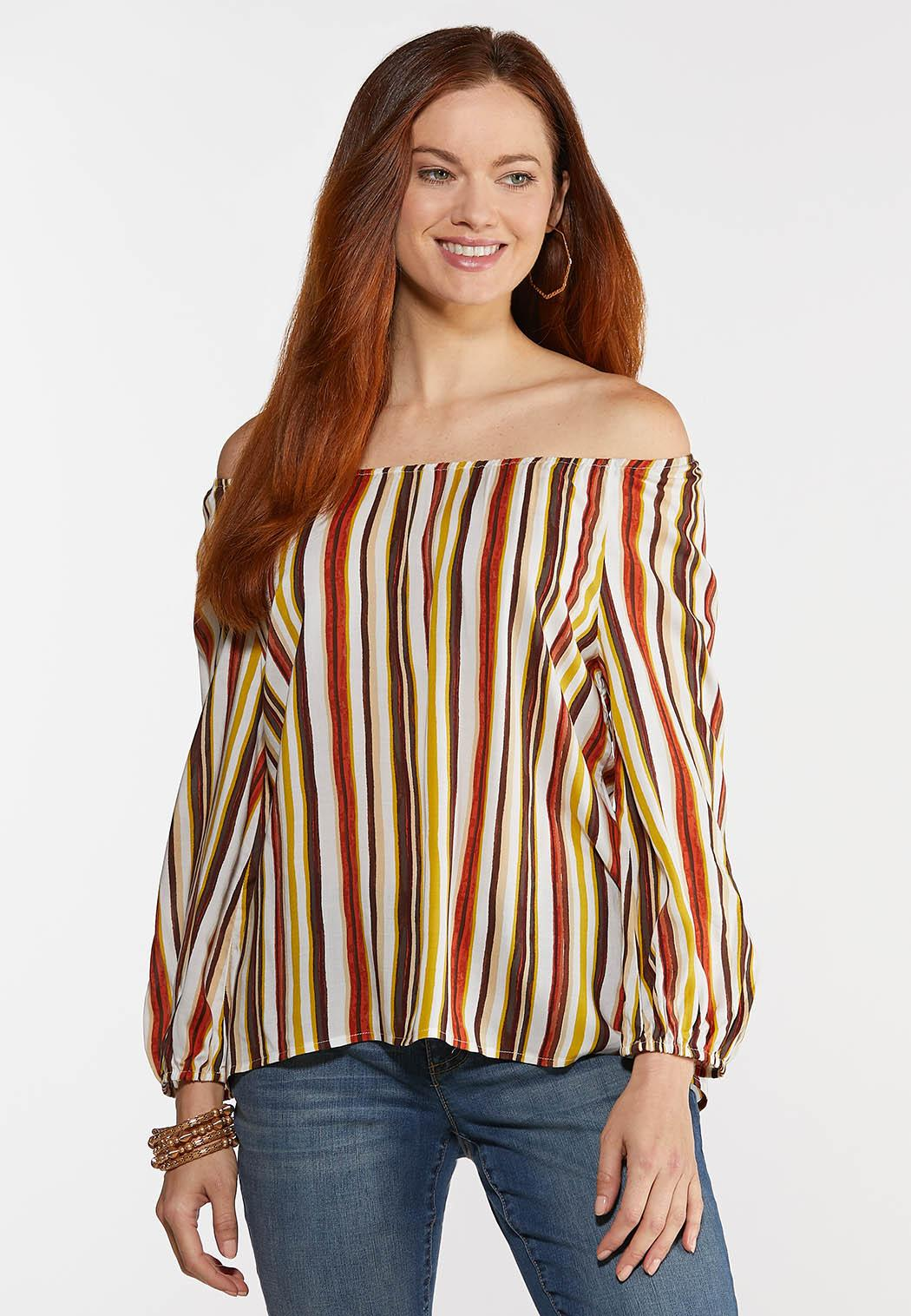 Plus Size Striped Balloon Sleeve Top (Item #44300517)